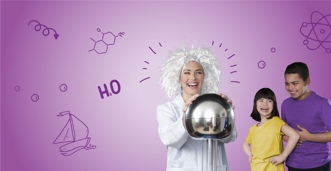 4 kids around a mad scientist.  she is holding an electro ball and her hair is standing in the air.